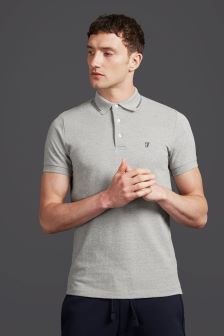 French Connection Blue/Grey  Short Sleeve Tipping Polo