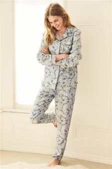 Ditsy Floral Print Button Through Pyjamas