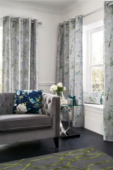 Thermal Faux Silk Chinoise Floral Print Eyelet Curtains