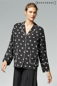 Warehouse Black Dandy Mono Pyjama Blazer