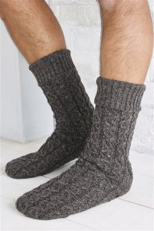 Cable Slipper Socks