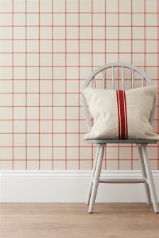 Paste The Wall Red Windowpane Check Wallpaper