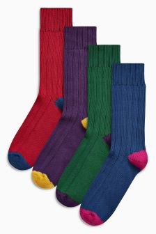Ribbed Heel And Toe Socks Four Pack