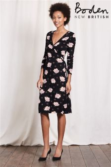 Boden Black Wrap Dress