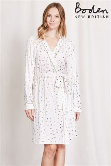 Boden Ivory Gold Spot Jersey Dressing Gown