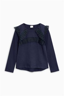 Sparkle Mesh Ruffle Long Sleeve Top (3-16yrs)