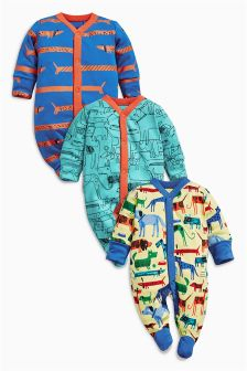 Dog Sleepsuits Three Pack (0mths-2yrs)