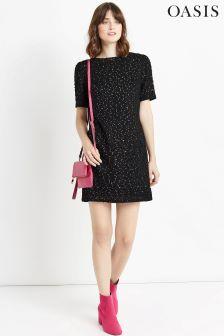 Oasis Black Spot Foil Popcorn Dress