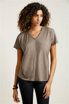 Premium Wool Mix Short Sleeve Top