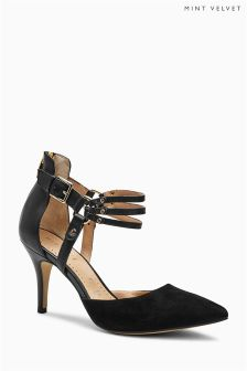 Mint Velvet Black Heather Suede/Leather Triple Strap Court Shoes