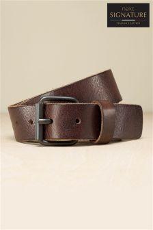Signature Italian Leather Raw Edge Belt
