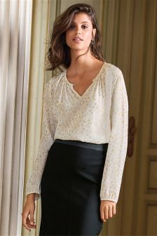 Long Sleeved Jacquard Top