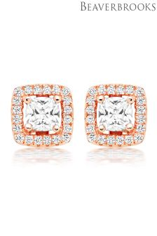 Beaverbrooks Silver Rose Gold Plated Cubic Zirconia Halo Stud Earrings