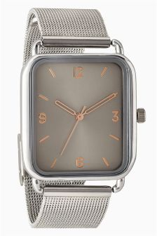 Rectangle Mesh Strap Watch