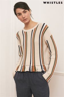 Whistles Cream Fringe Detail Stripe Knit