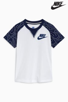 Nike Little Kids White/Navy Raglan T-Shirt