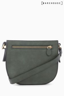 Warehouse Forest Green Square Casual Cross Body Bag