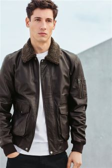 Borg Collar Leather Jacket