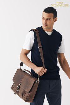 Signature Leather Oily Briefcase
