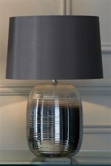 Smoke And Clear Ripple Glass Table Lamp
