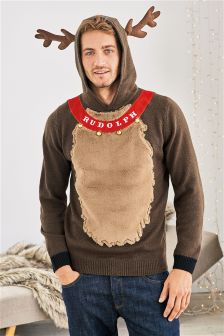Rudolph Christmas Hooded Jumper