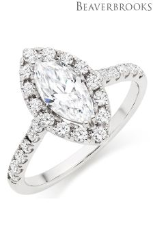Beaverbrooks 9ct White Gold Cubic Zirconia Marquise Halo Ring