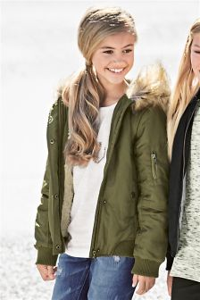 Faux Fur Trim Hooded Bomber (3-16yrs)