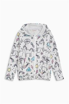 Unicorn Printed Fleece Zip Through (3-16yrs)