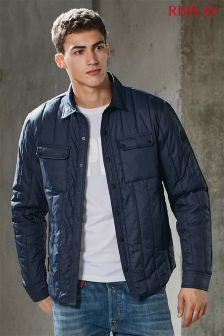Replay® Navy Pocket Quilted Jacket