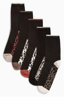 Animal Mix Footbed Ankle Socks Five Pack