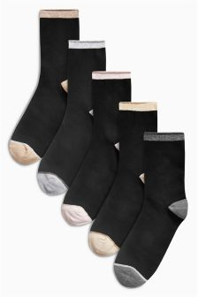 Pastel Heel And Toe Ankle Socks Five Pack