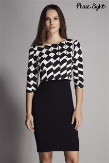 Phase Eight Black Zig Zag Tiered Dress