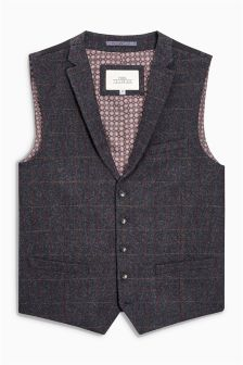 Large Check Textured Waistcoat