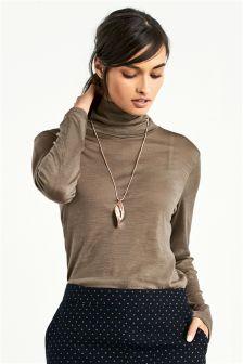 Long Sleeve Wool Blend Roll Neck