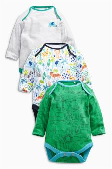 Safari All Over Print Long Sleeve Bodysuits Three Pack (0mths-2yrs)