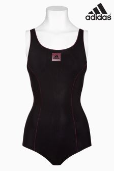adidas Black/Pink Logo Swimsuit