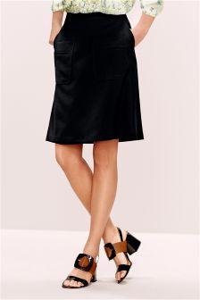 Black Pocket Detail A-Line Skirt