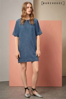 Warehouse Mid Wash Relaxed Denim Shift Dress