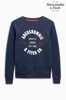 Abercrombie & Fitch Navy Logo Crew Sweat
