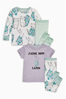 Bunny Print Pyjamas Two Pack (9mths-8yrs)