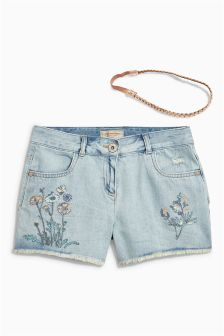 Floral Embroidered Shorts And Headband Set (3-16yrs)