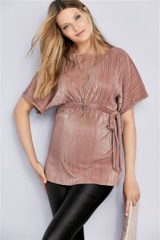 Maternity Tie Pleat Top