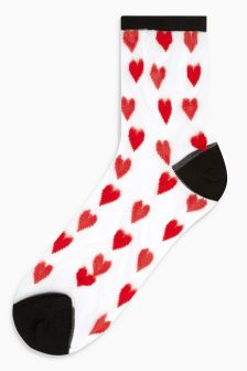 Heart Sheer Ankle Socks
