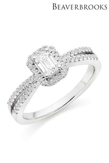 Beaverbrooks 18ct White Gold Diamond Emerald Cut Halo Ring