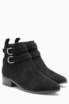 Leather Double Strap Ankle Boots