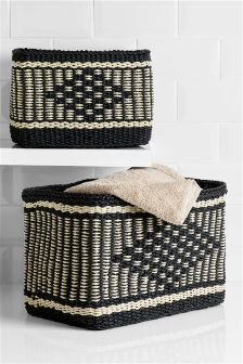 Set Of 2 Woven Ikat Baskets