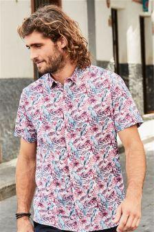 Short Sleeve Parrot Print Shirt