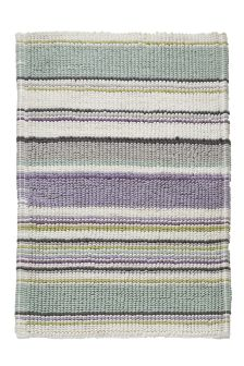 Lilac And Teal Stripe Bath Mat