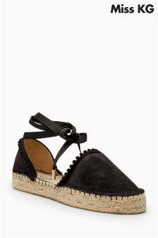 Miss KG Black Dizzy Wrap Around Espadrille