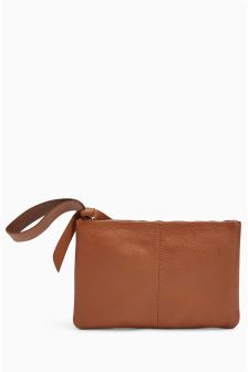 Leather Wristlet Clutch